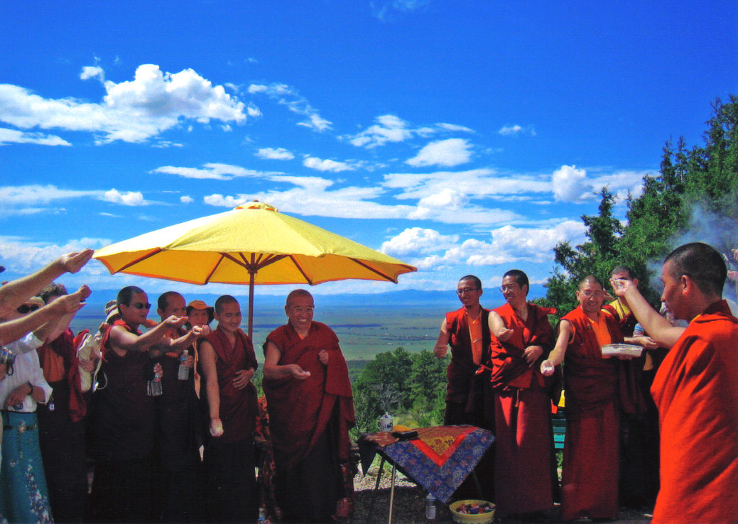 Khenchen Thrangu Rinpoche with Sangha at Stupa in Crestone, Colorado 2006 Retreat